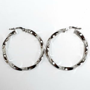 9ct White Gold Hallmarked Earrings - Product Code - C415