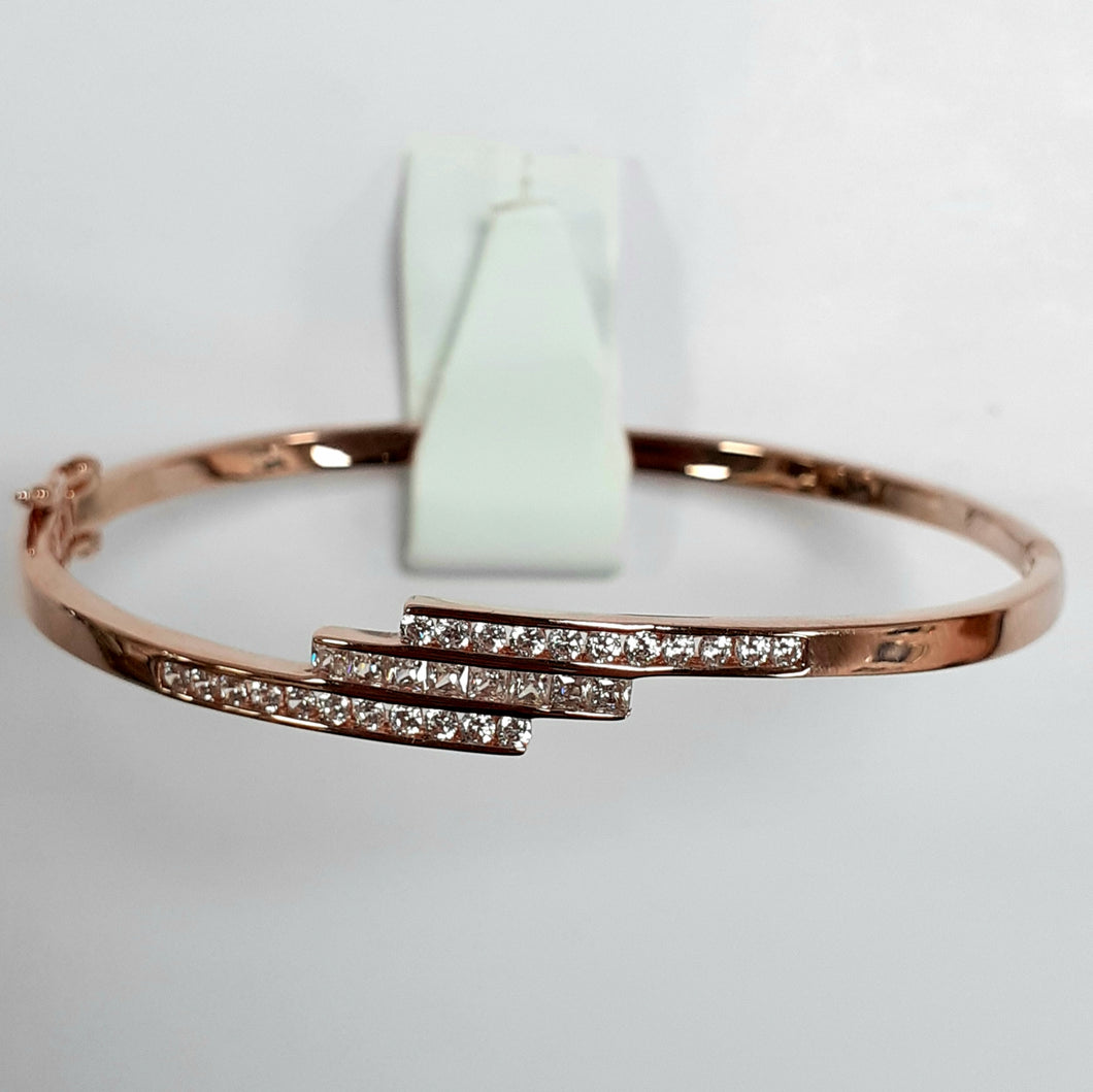 Rose Gold On Silver Hallmarked Bangle - Product Code - F134