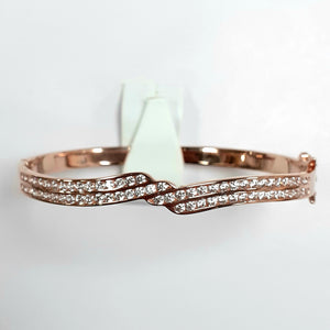 Rose Gold On Silver Hallmarked Bangle - Product Code - F135