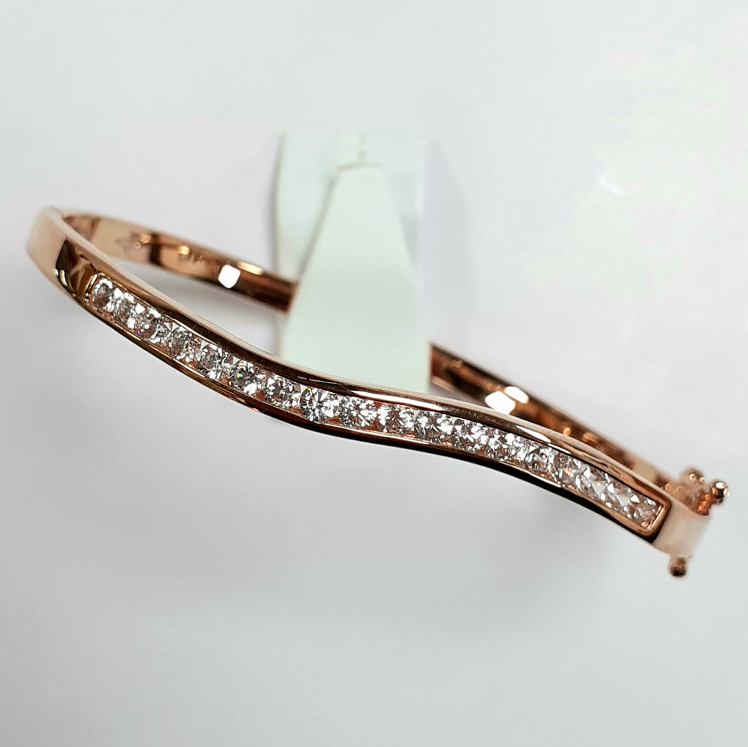 Rose Gold On Silver Hallmarked Bangle - Product Code - F153