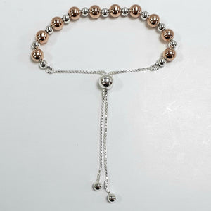 Rose Gold On Silver Hallmarked Bracelet - Product Code - VX159