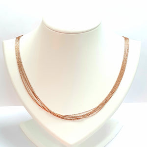 Rose Gold On Silver Hallmarked Necklet - Product Code - I611