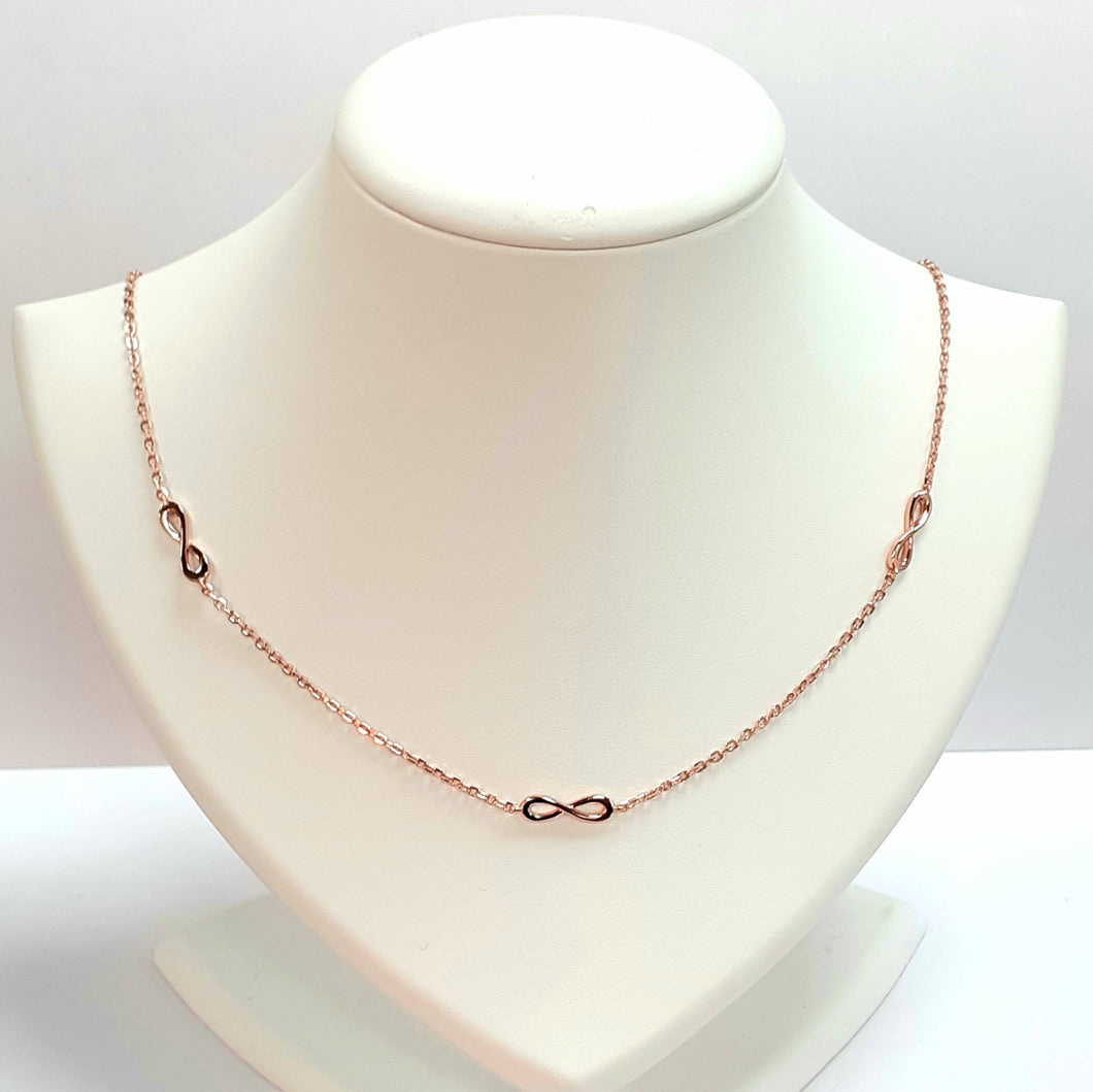 Rose Gold On Silver Hallmarked Necklet - Product Code - VX151