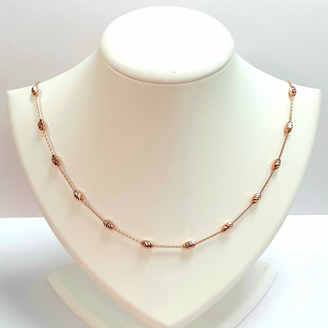 Rose Gold On Silver Hallmarked Necklet - Product Code - I612