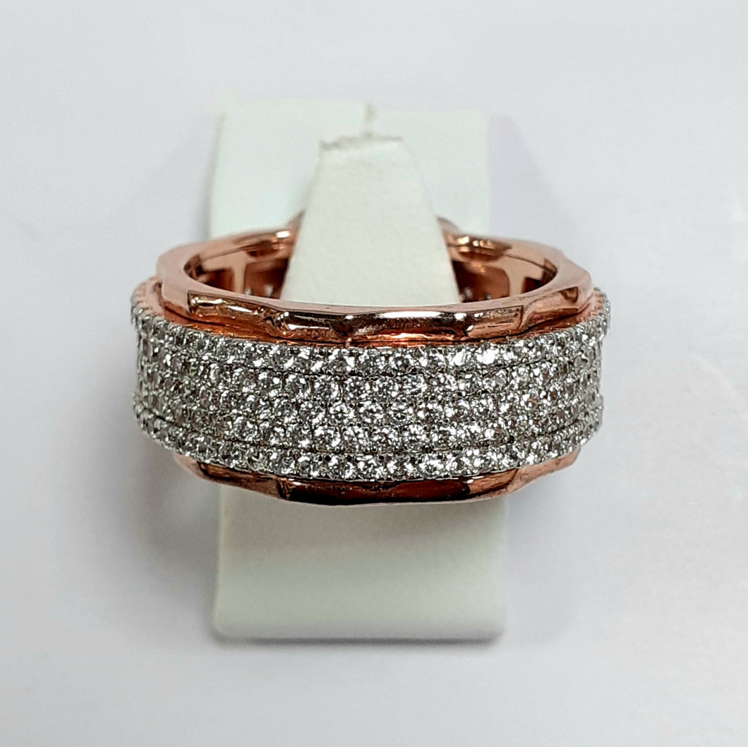 Rose Gold On Silver Hallmarked Ring - Product Code - I160