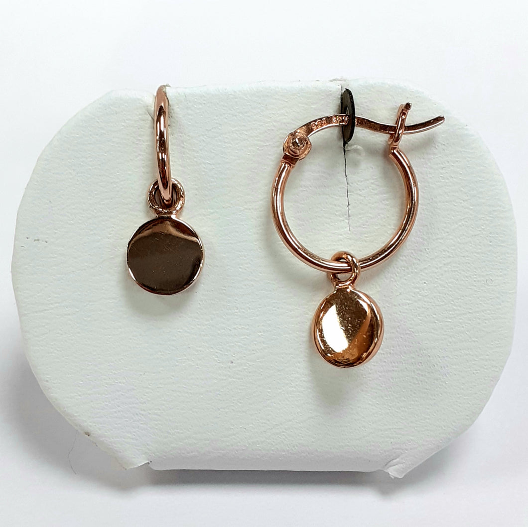 Rose Gold On Silver Hallmarked Earrings - Product Code - VX174
