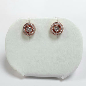 Rose Gold On Silver Hallmarked Earrings - Product Code - L362