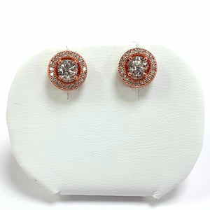 Rose Gold On Silver Hallmarked Earrings - Product Code - L363