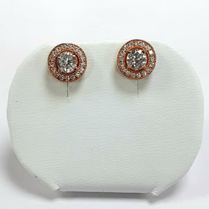Rose Gold On Silver Hallmarked Earrings - Product Code - L364