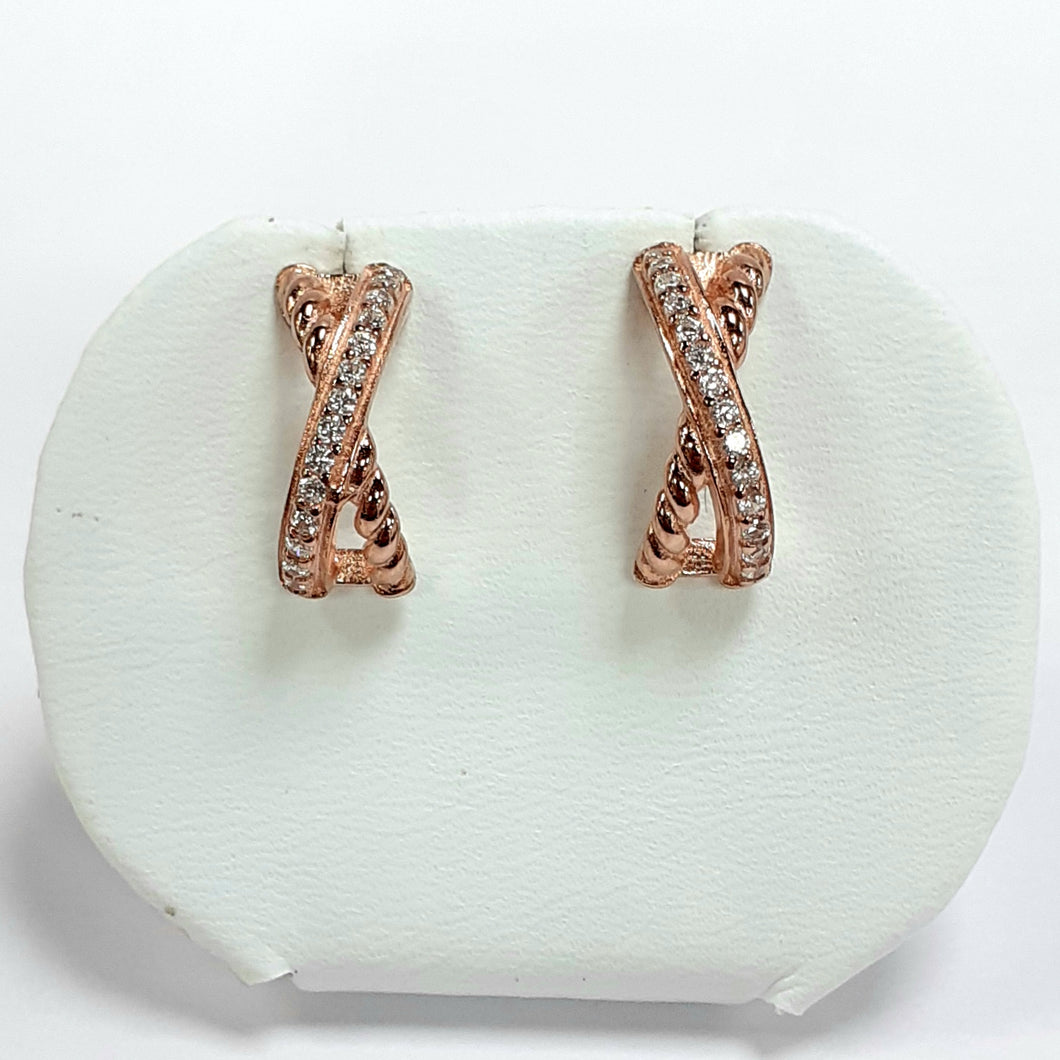 Rose Gold On Silver Hallmarked Earrings - Product Code - J452