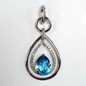9ct White Gold Blue Topaz & Diamond Pendant - Product Code - AA119