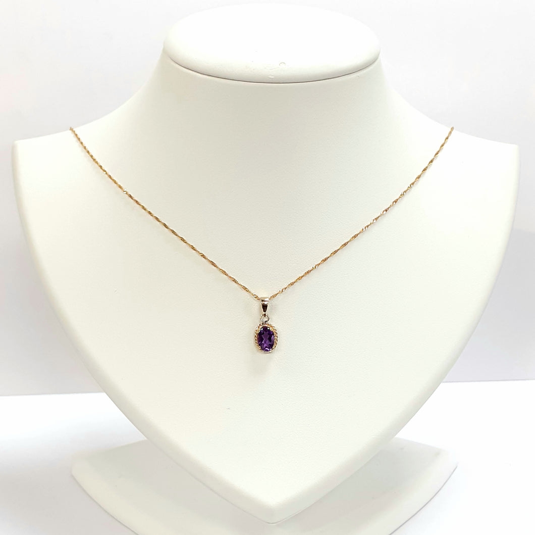 9ct Yellow Gold Amethyst Pendant - Product Code - F671 & VX951