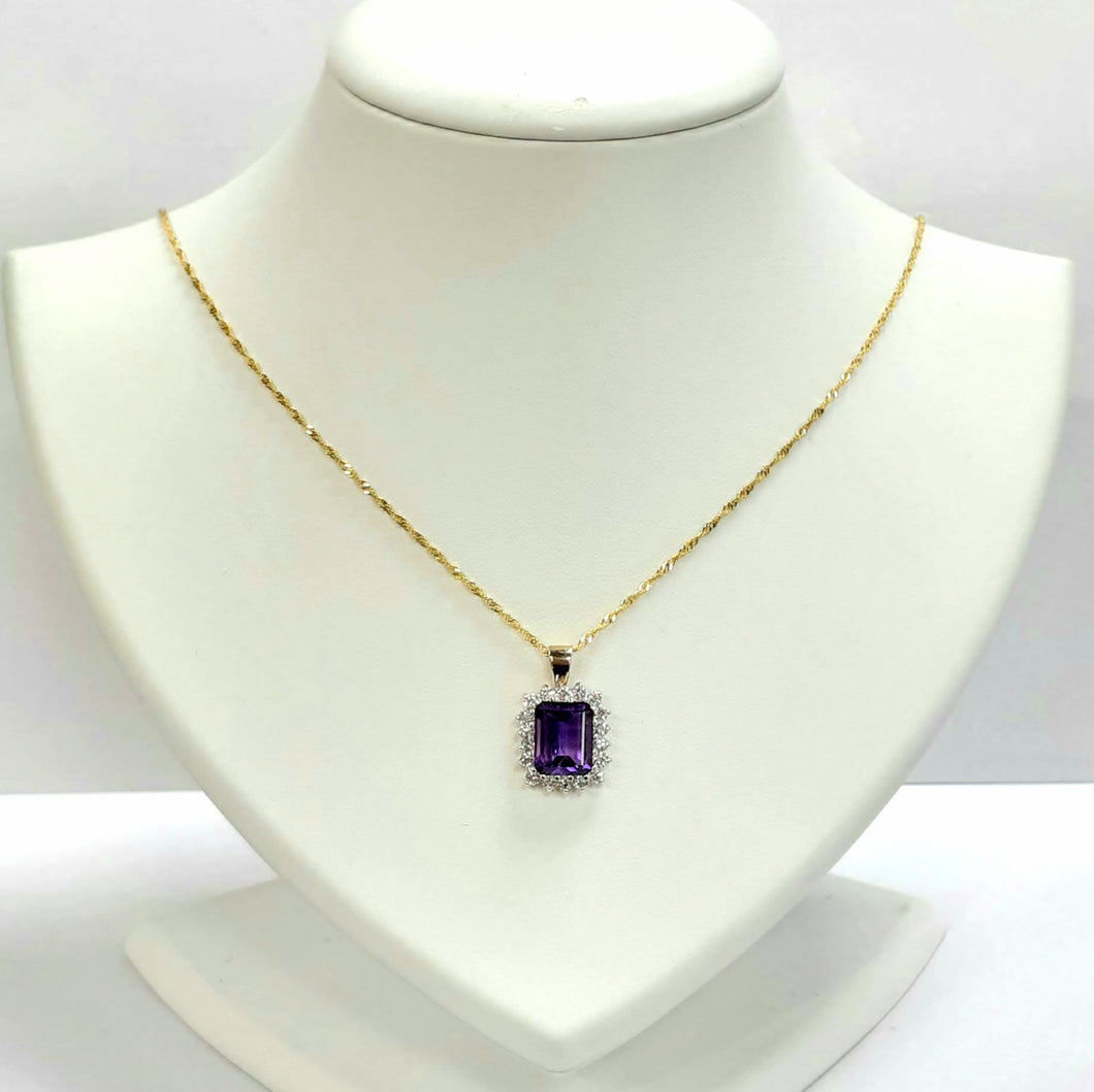 9ct Yellow Gold Amethyst Pendant - Product Code - H4 & VX937