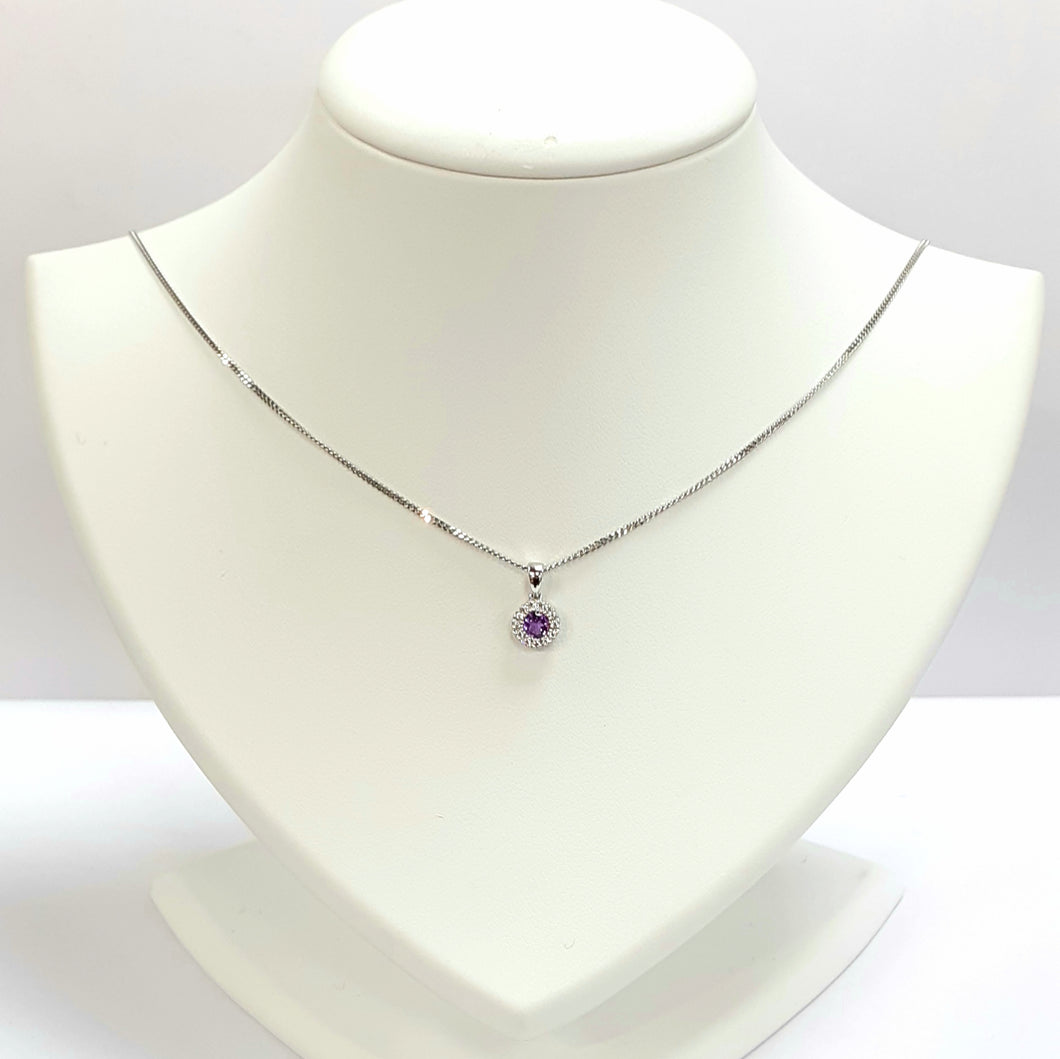Silver Gold Amethyst Pendant - Product Code - A248