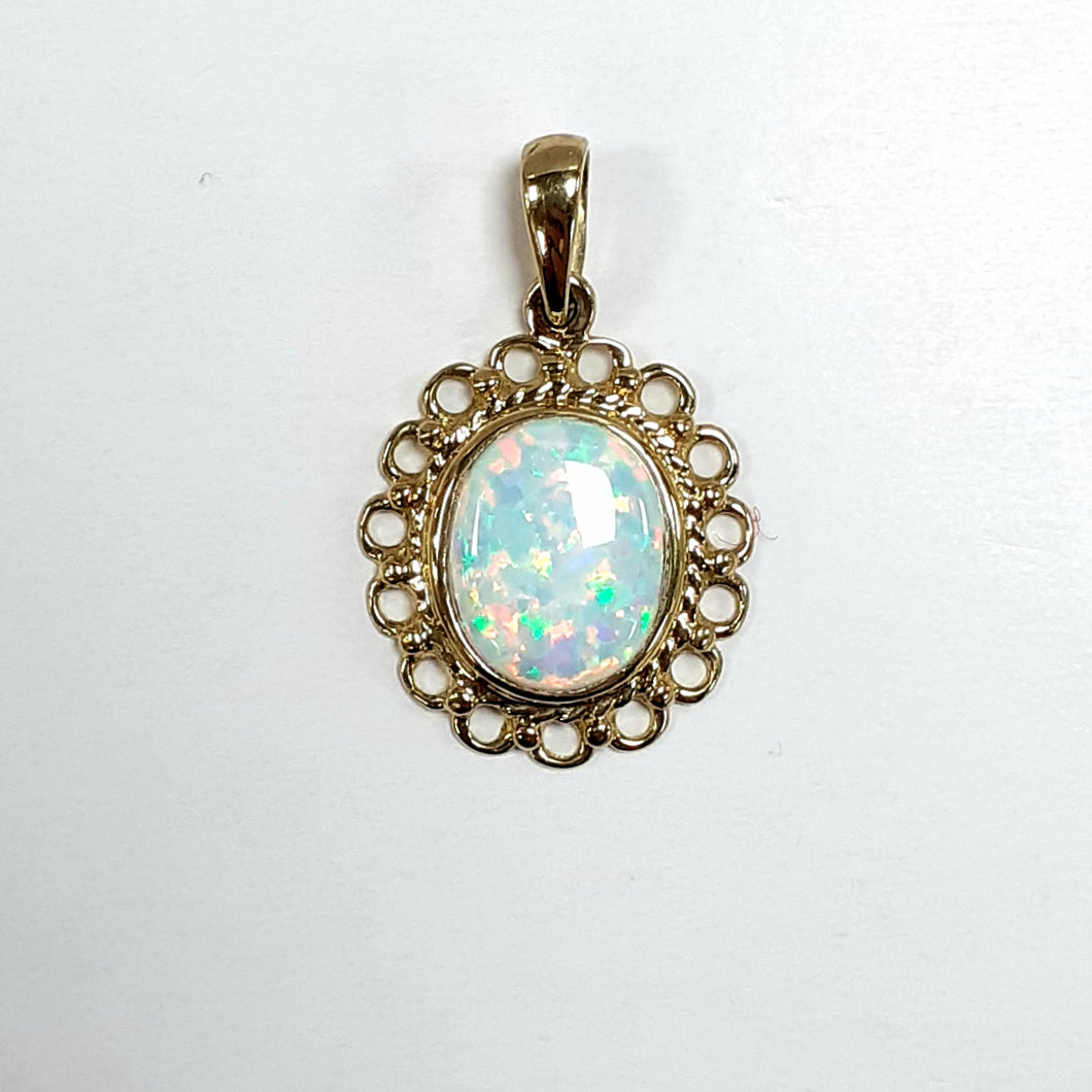 9ct Yellow Gold Opal Pendant - Product Code - C833