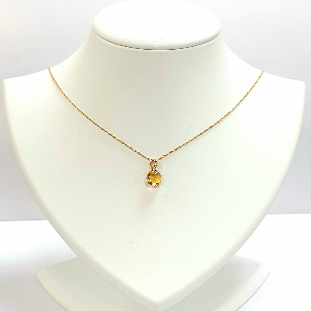 9ct Yellow Gold Citrine Pendant With Chain - Product Code - AA89 & VX948