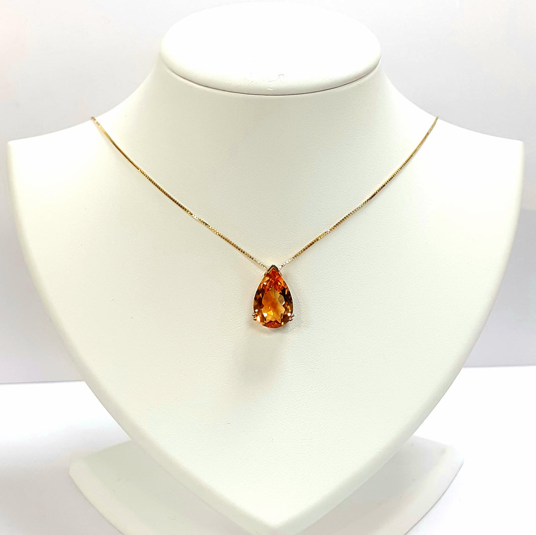 9ct Yellow Gold Citrine Pendant With Chain - Product Code - AA45