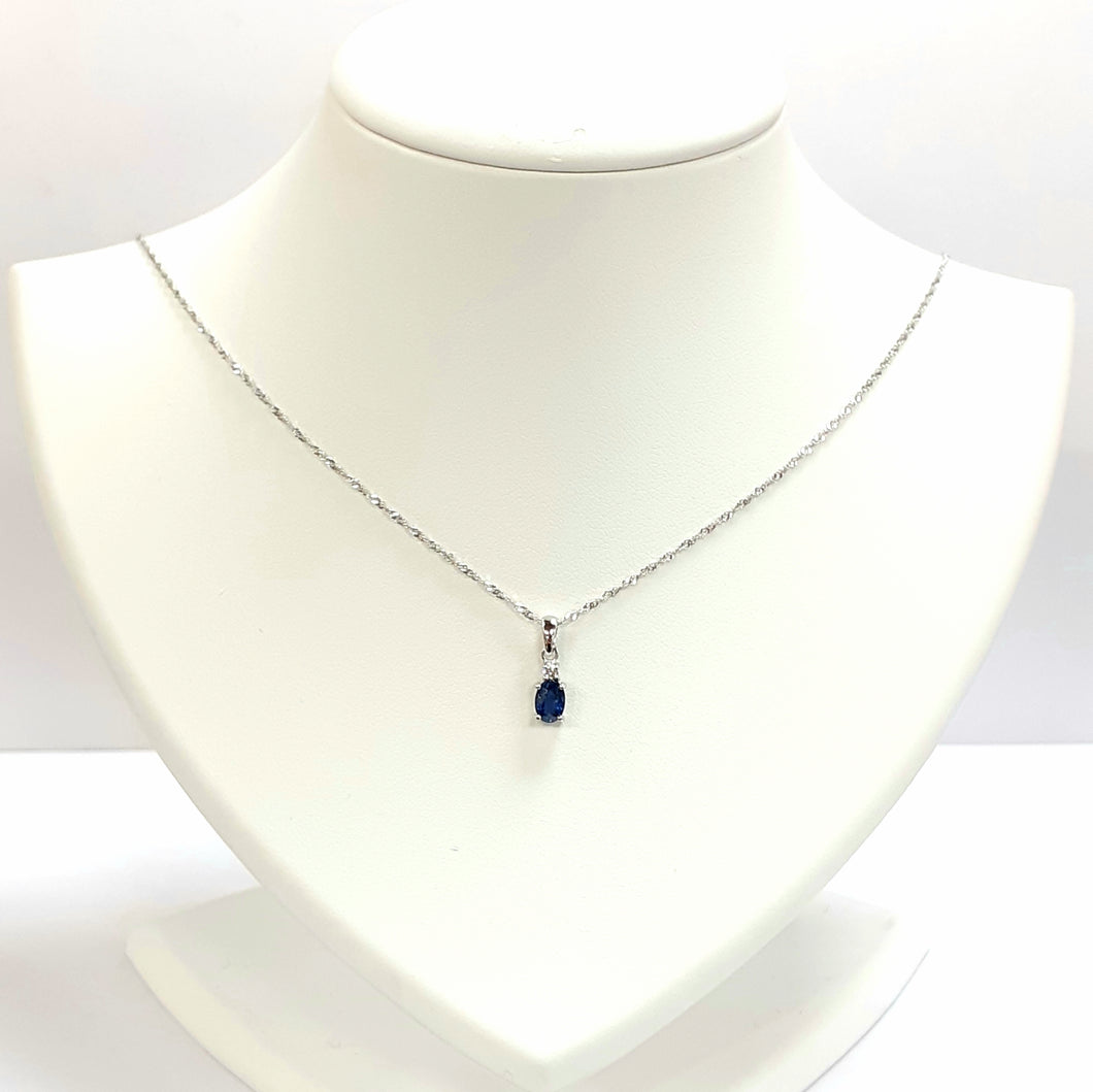9ct White Gold Sapphire & Diamond Pendant With Chain - VX756 & G287