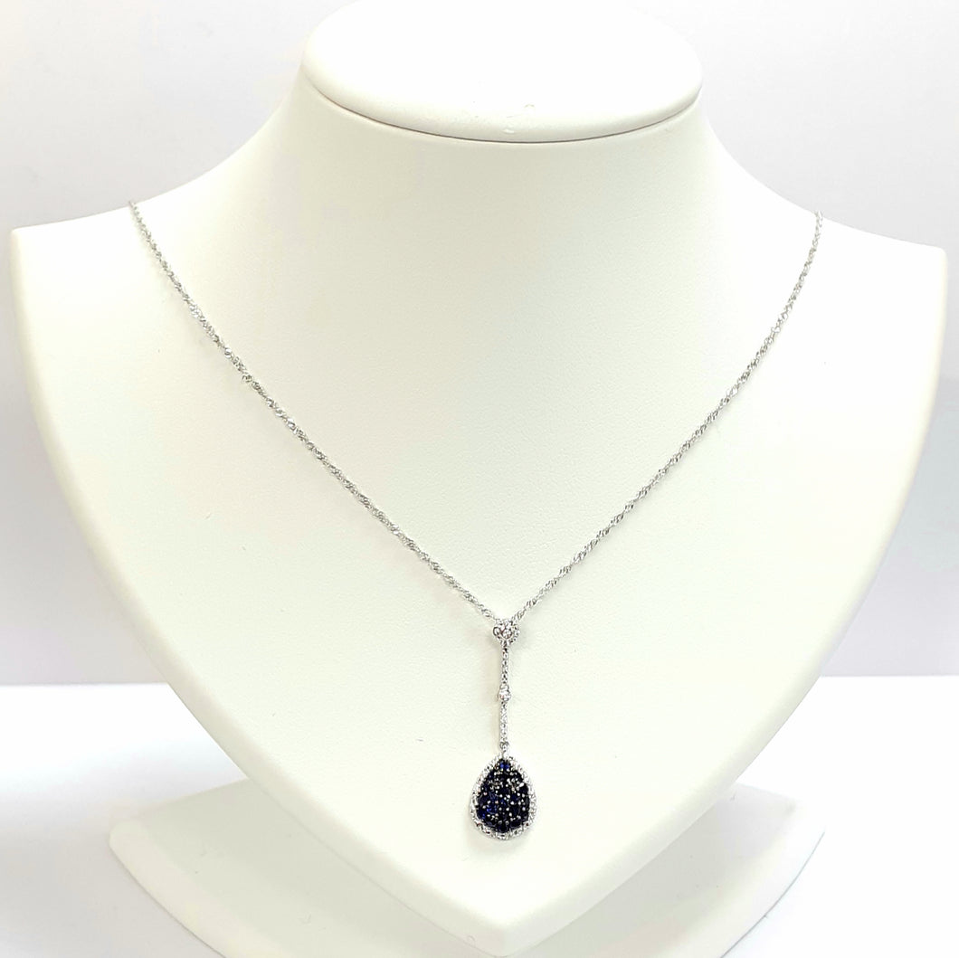 9ct White Gold Sapphire & Cubic Zirconia Pendant With Chain - Product Code - C568 & VX966