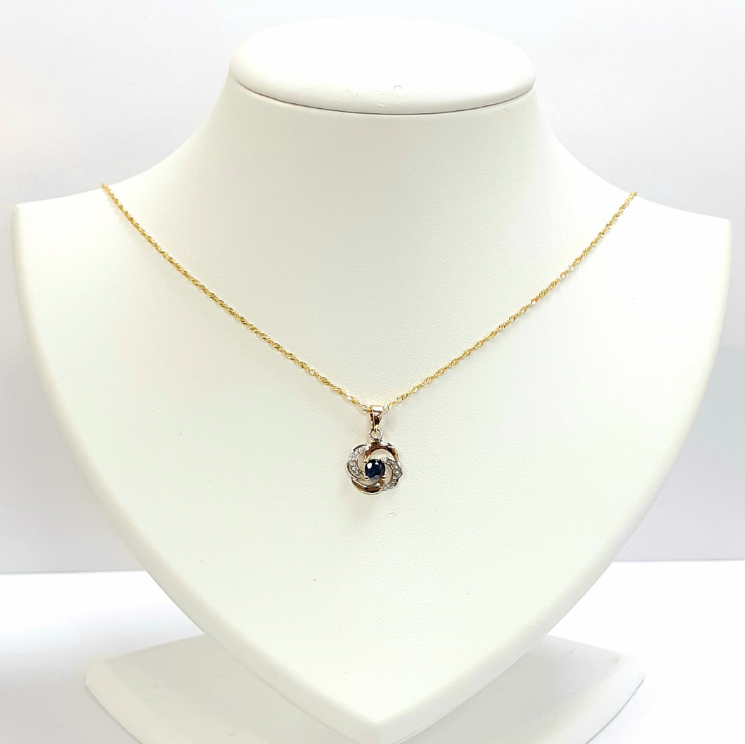 9ct Yellow Gold Sapphire Pendant & Charm - Product Code - VX937 & F229