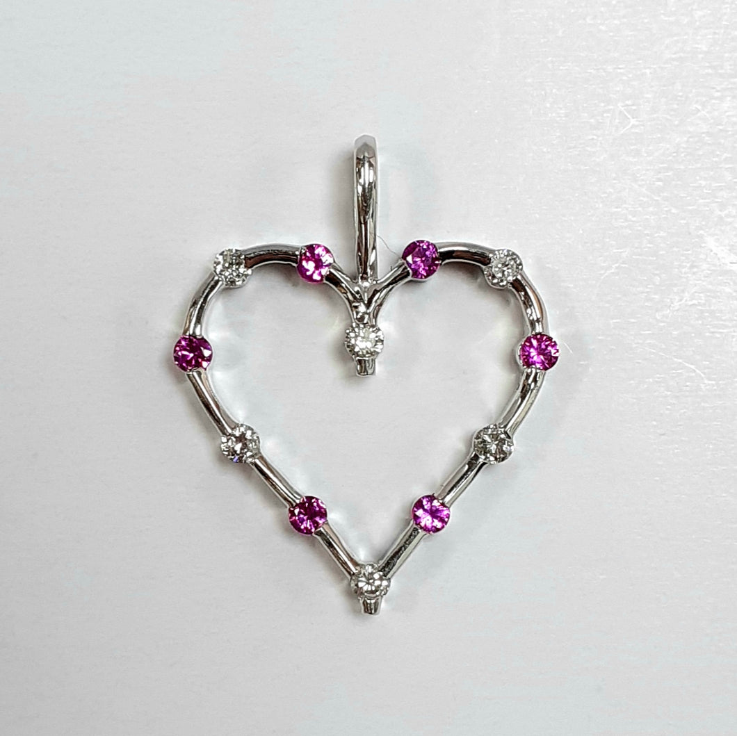 9ct White Gold Pink Sapphire & Diamond Pendant - Product Code -  AA86