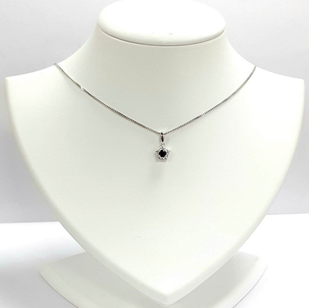 Silver Sapphire Pendant & Chain - Product Code - A626