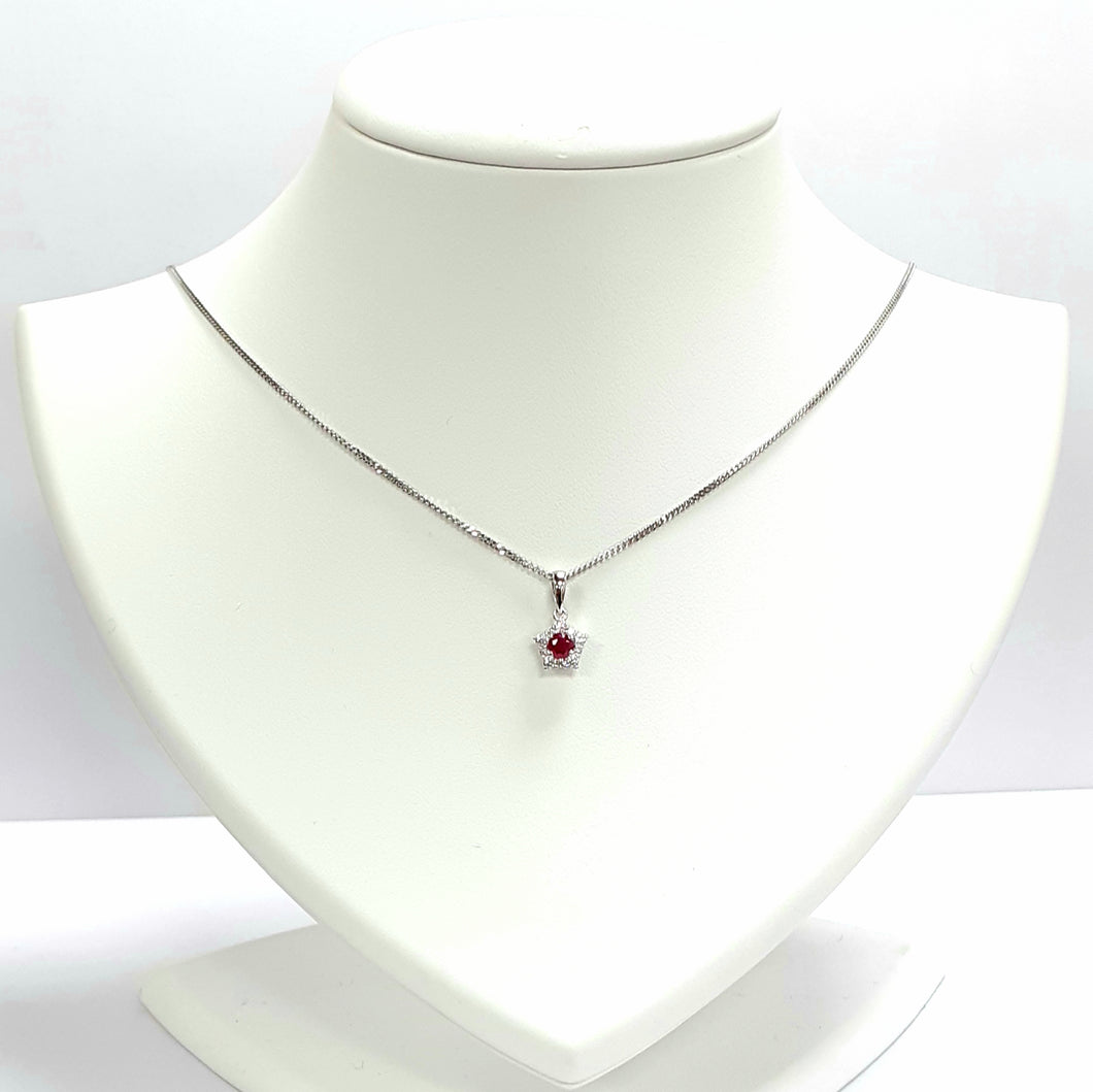 Silver Ruby Pendant & Chain - Product Code - A663