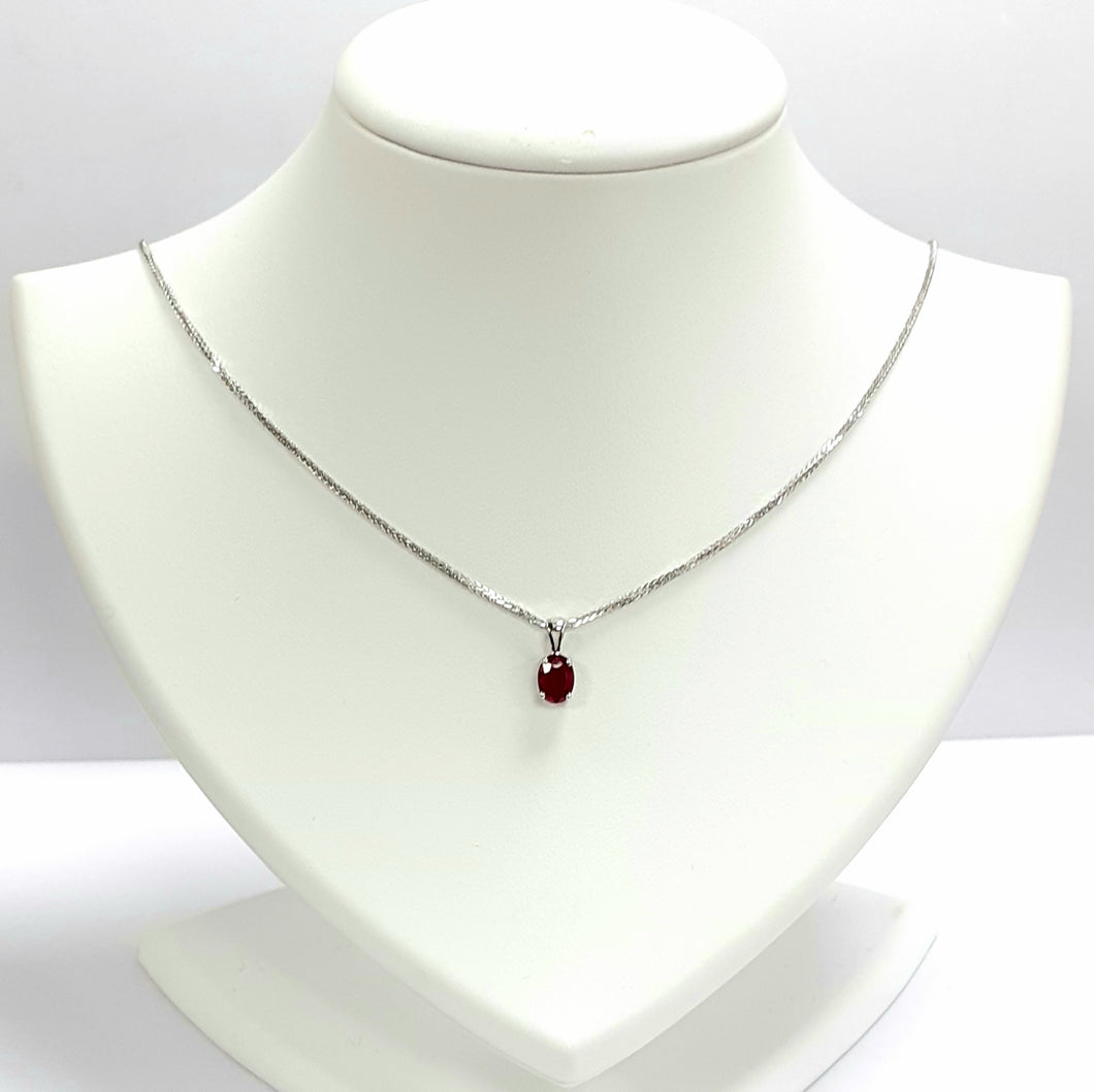 White Gold Ruby Pendant & Chain - Product Code - U697 & AA117