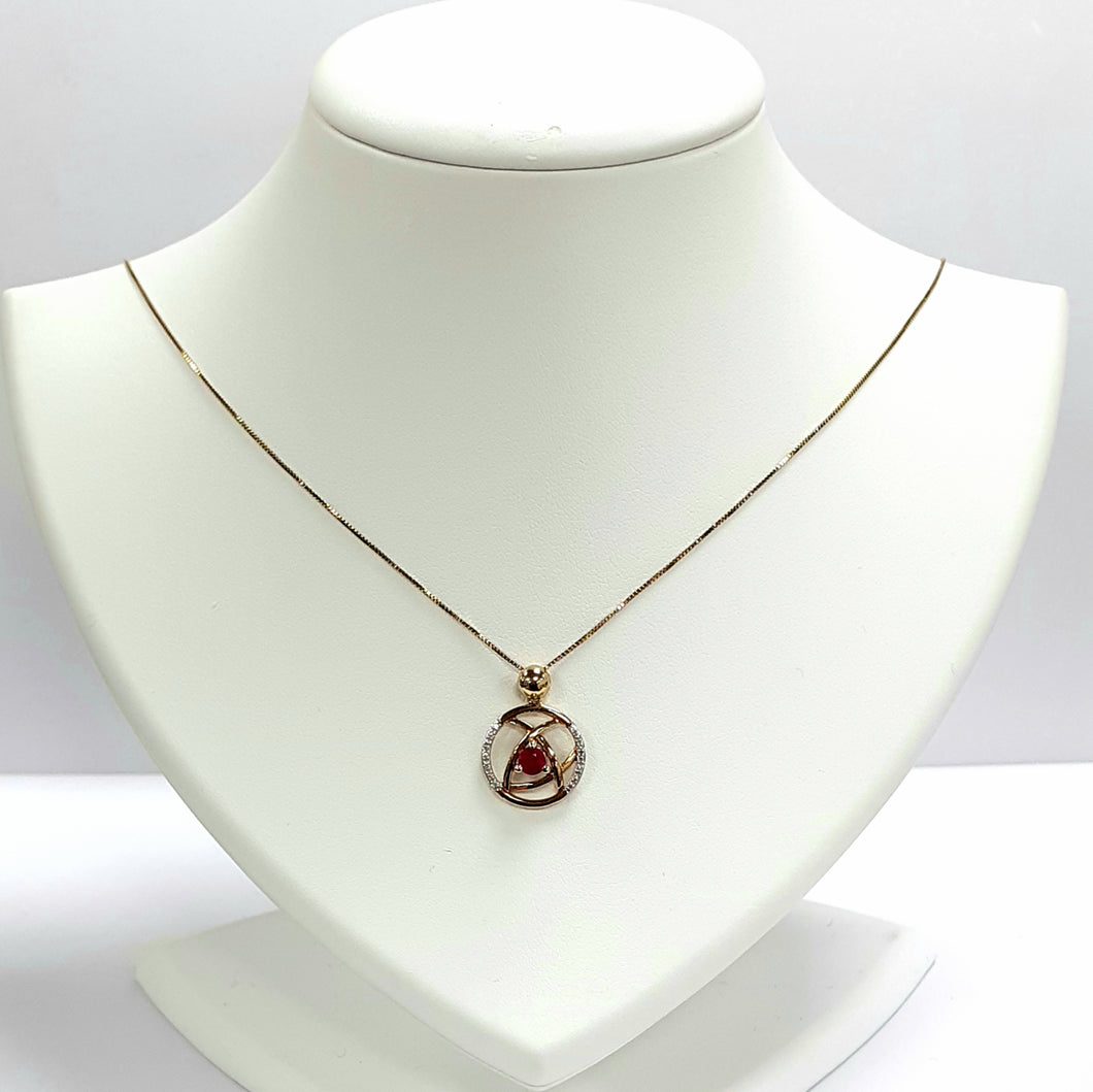 9ct Yellow Gold Ruby & Diamond Pendant & Chain - Product Code - A401 & M860