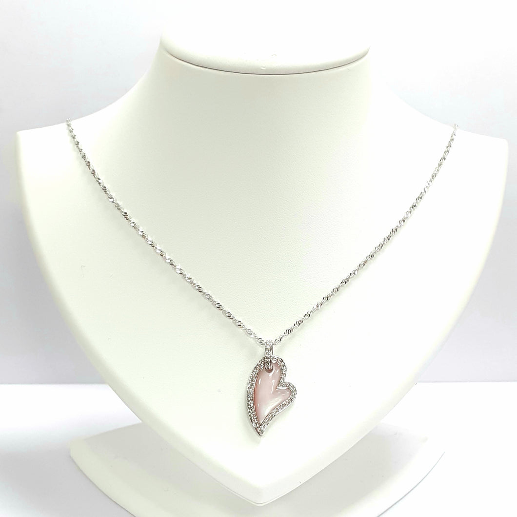 9ct White Gold Mother Of Pearl & Diamond Pendant & Chain - Product Code - VX676 & AA103