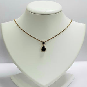 9ct Yellow Gold Onyx Pendant & Chain - Product Code - A36