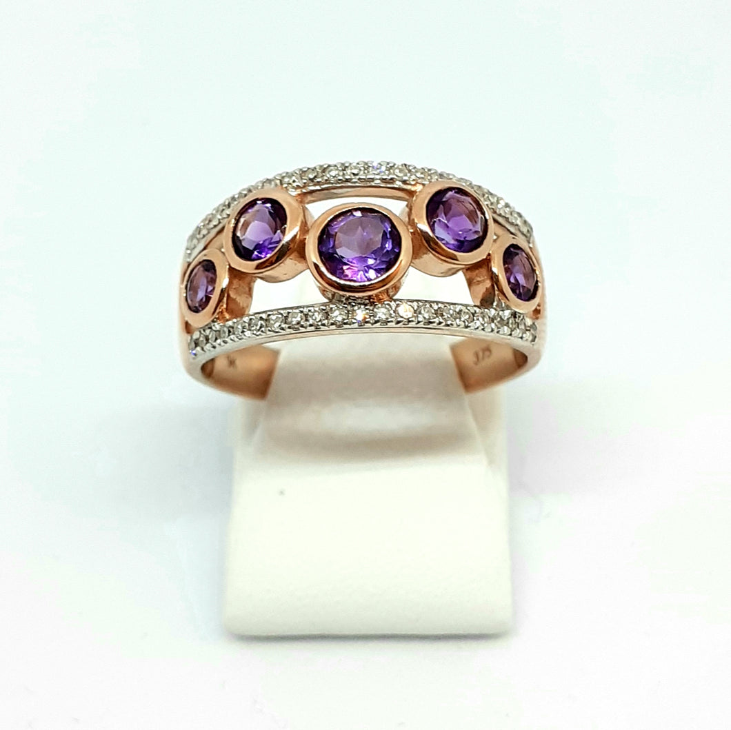 9ct Rose Gold Designer Amythest & Diamond Band Ring - Product Code - A334