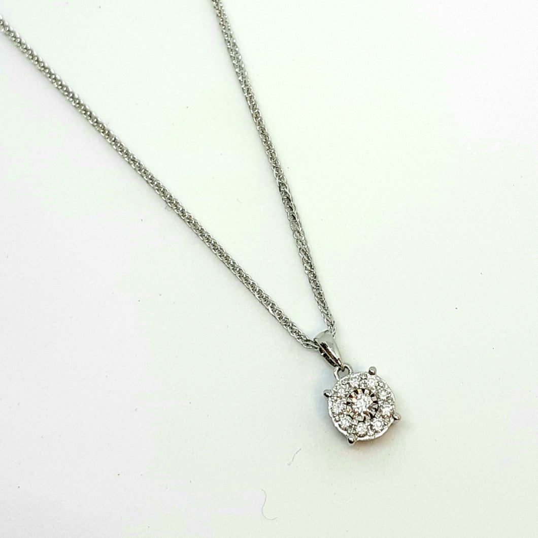 9ct White Gold Halo Design Diamond Pendant & 18