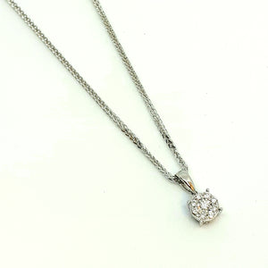 "9ct White Gold Halo Design Diamond Pendant & 18"" Chain - Product Code - G542 