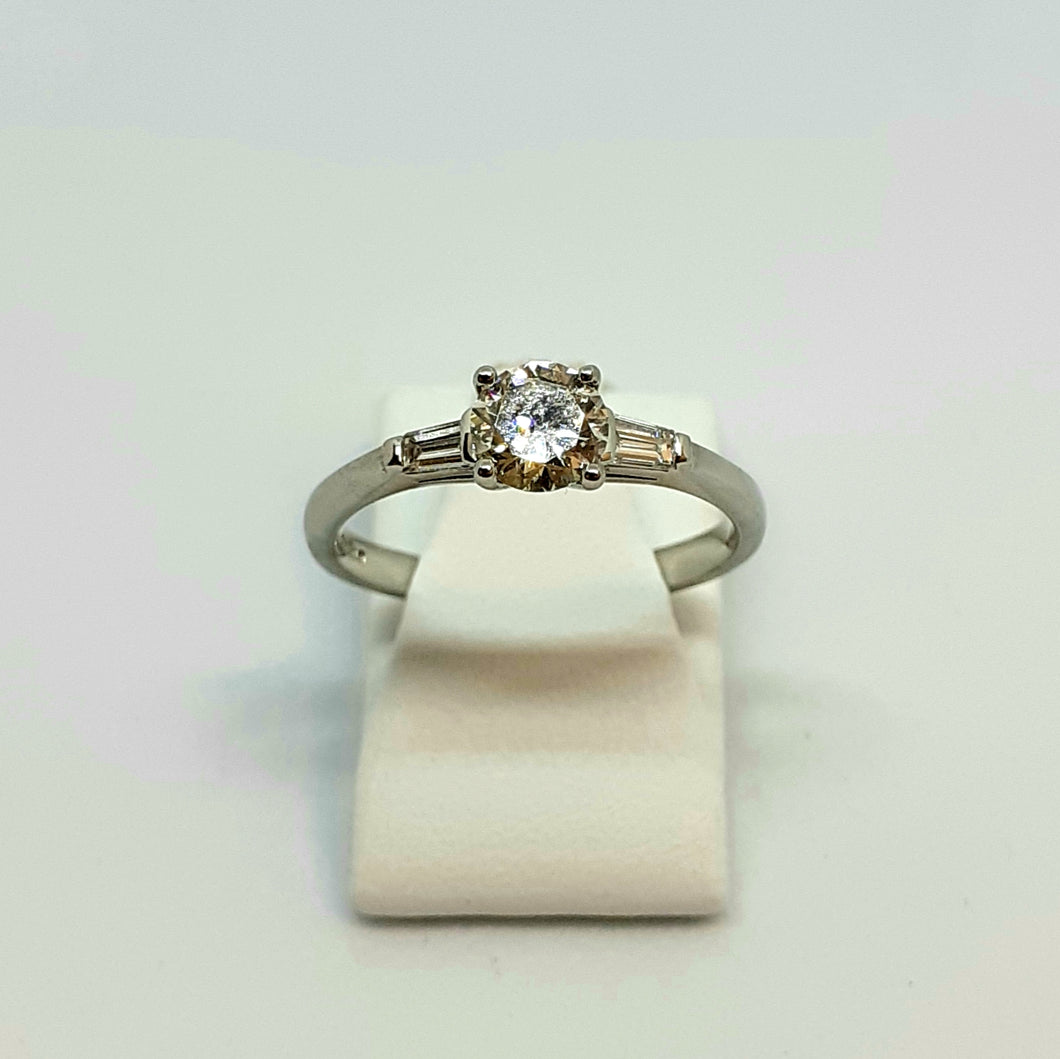 Platinum Hallmarked Handmade Diamond Solitaire Ring Set with Tapered Baguette Diamonds - Product Code - WX260