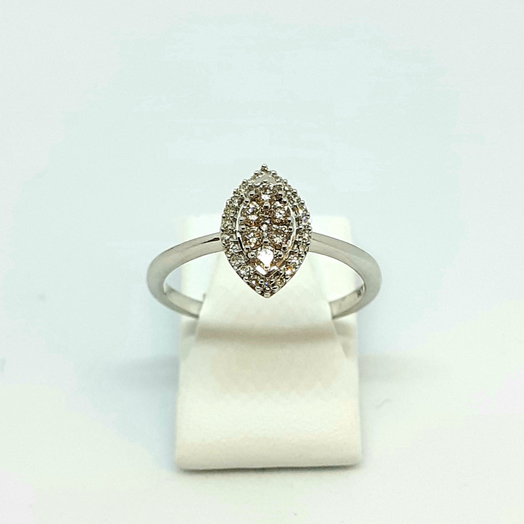 9ct White Gold Diamond Marquise Shaped Designer Ring - Product Code - D4