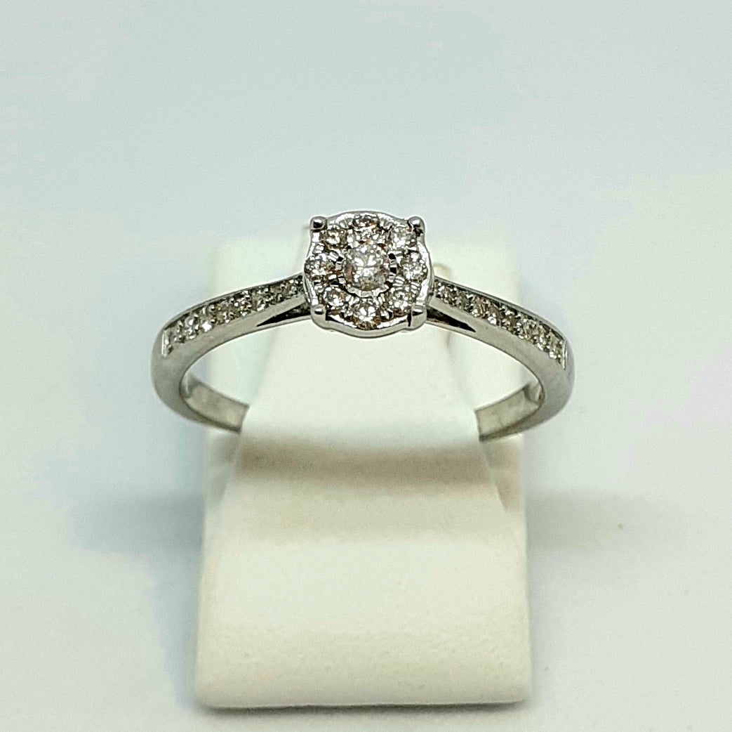 9ct White Gold Hallmarked Diamond Halo Designer Ring With Diamond Shoulders - Product Code - G609