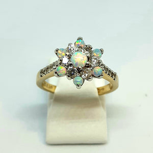 9ct Yellow Gold Hallmarked Opal & Cubic Zirconia Ring - Product Code - H30