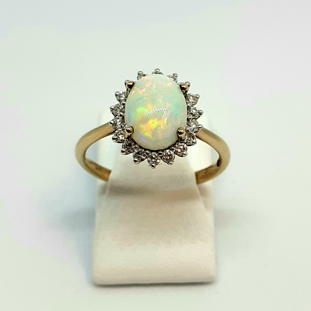 9ct Yellow Gold Hallmarked Opal & Diamond Ring - Product Code - J8