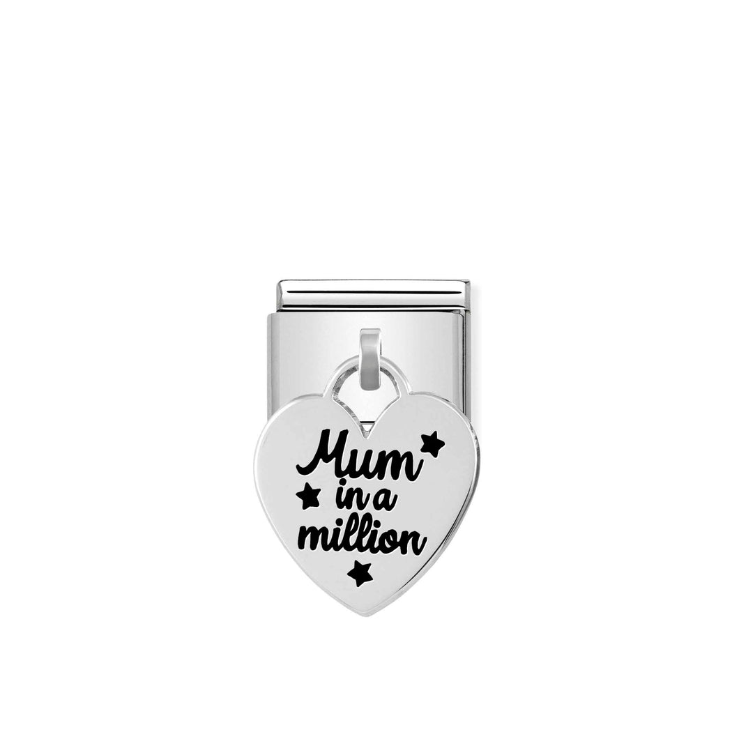 Nomination Silver Heart Drop Mum In A Million Charm - Product Code - 331811-02