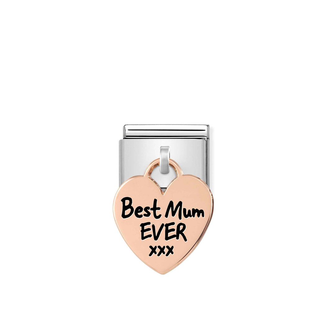 Nomination Rose Gold Heart Drop Best Mum Ever Charm - Product Code - 431802-01
