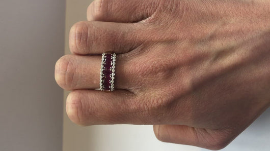 Diamond and Ruby Yellow Gold Band Ring Video