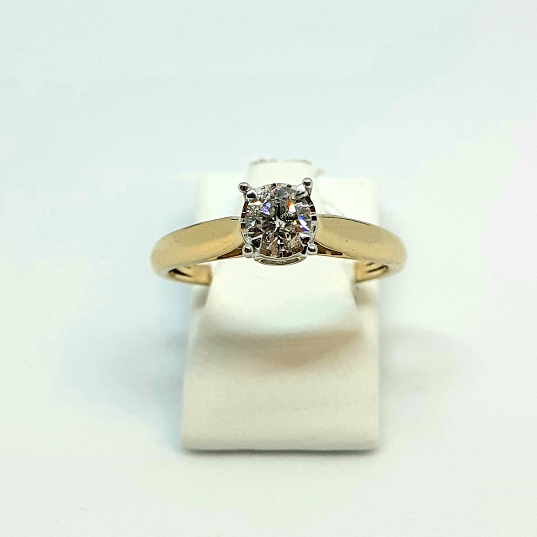 9ct Hallmarked Yellow Gold Fine White Diamond Solitaire Ring - Product Code - G607
