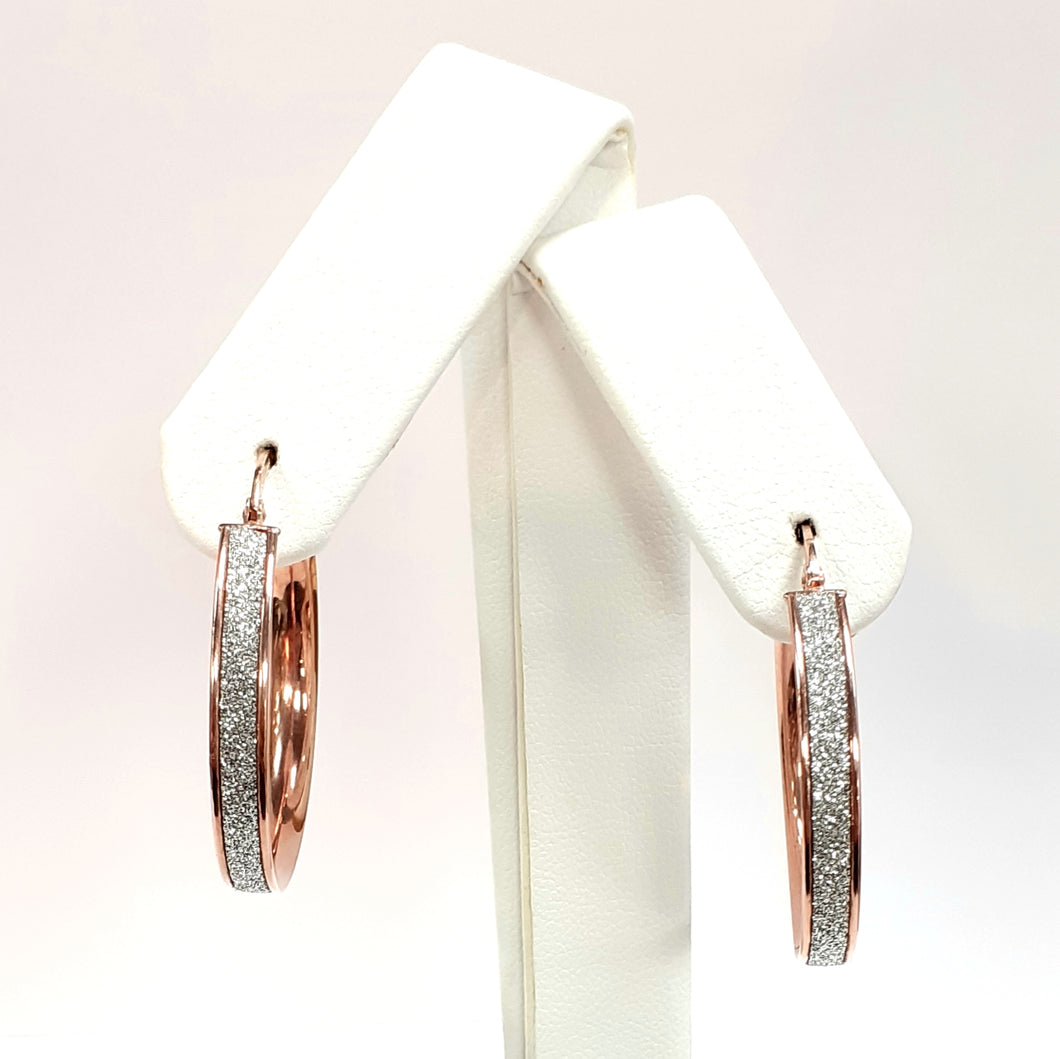 9ct Rose Gold Hallmarked Creole Earrings - Product Code - J569