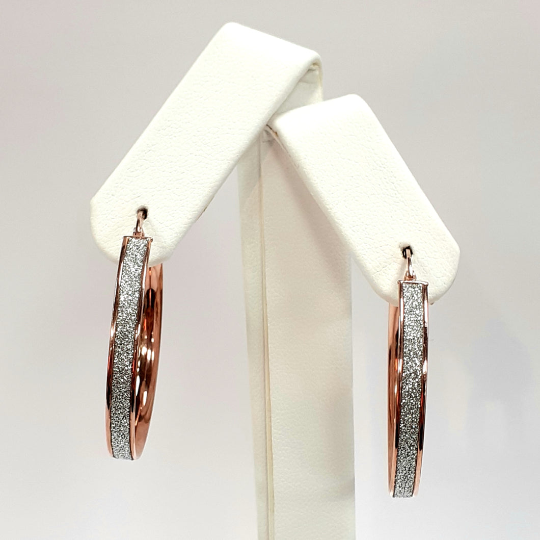 9ct Rose Gold Hallmarked Creole Earrings - Product Code - J57