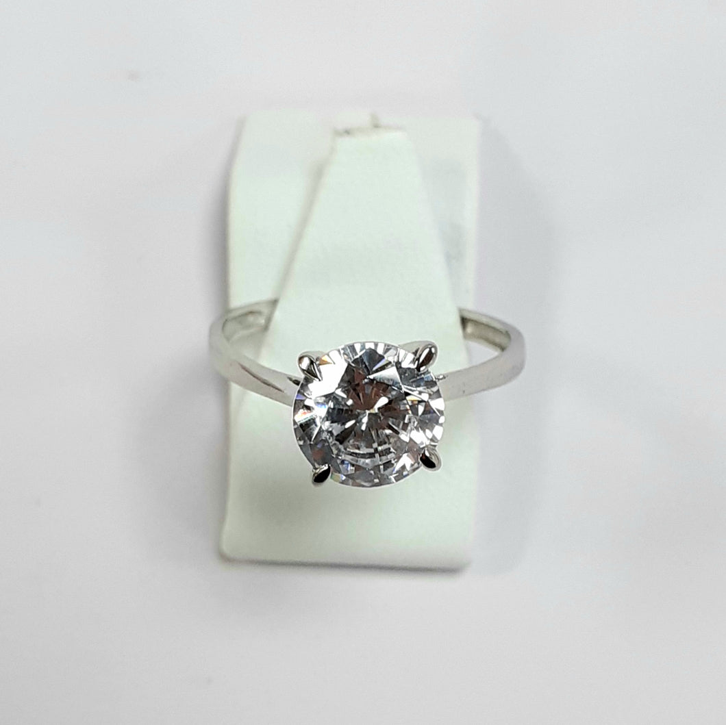 9ct White Gold Hallmarked Cubic Zirconia Ring - Product Code - F74