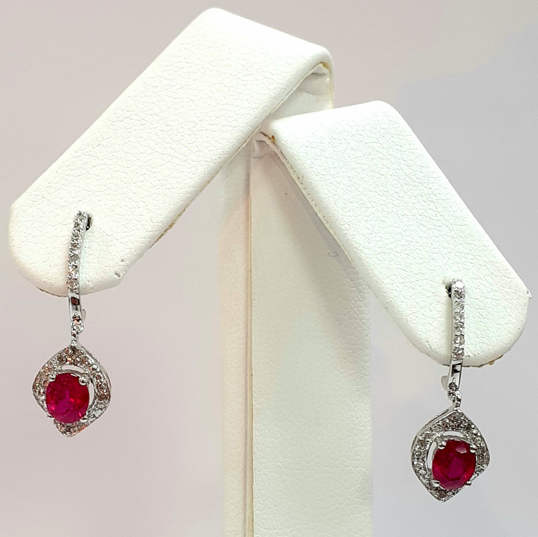 9ct White Gold Hallmarked Stone Set Earrings - Product Code - C182