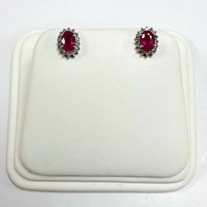 9ct White Gold Hallmarked Stone Set Earrings - Product Code - C554