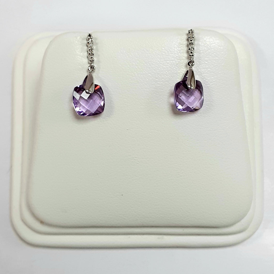 9ct White Gold Hallmarked Stone Set Earrings - Product Code - C694