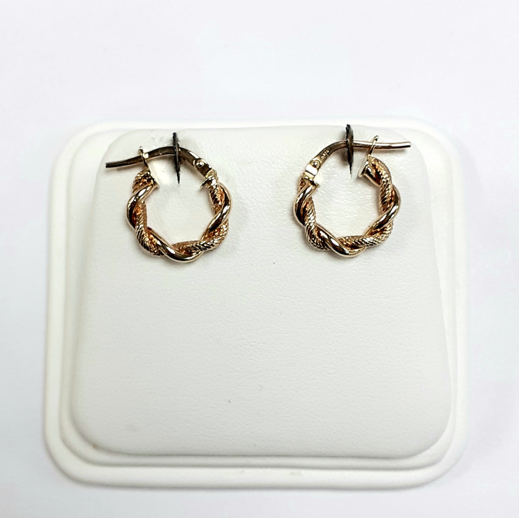 9ct Yellow Gold Hallmarked Creole Earring - Product Code - J395